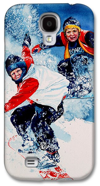 Winter Fun Paintings Galaxy S4 Cases - Snowboard Psyched Galaxy S4 Case by Hanne Lore Koehler