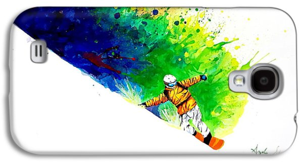 Winter Fun Paintings Galaxy S4 Cases - Snowboarder 1 Galaxy S4 Case by Angee Skoubye