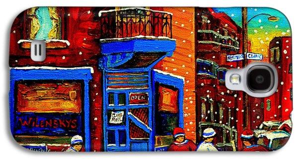 After School Hockey Paintings Galaxy S4 Cases - Snowday Hockey Practice Wilenskys Corner Fairmount And Clark Montreal City Scene Carole Spandau Galaxy S4 Case by Carole Spandau