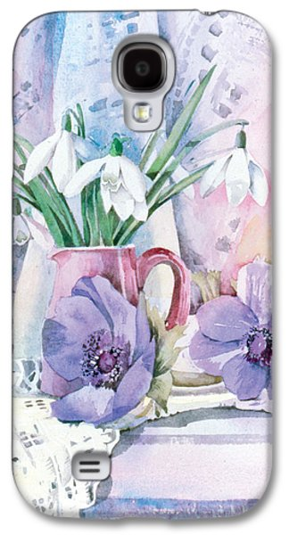 Indoor Still Life Galaxy S4 Cases - Snowdrops And Anemones Galaxy S4 Case by Julia Rowntree