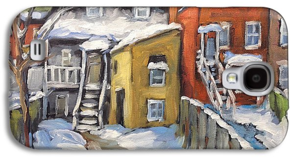 Quebec Streets Paintings Galaxy S4 Cases - Snowed in Yards by Prankearts Galaxy S4 Case by Richard T Pranke