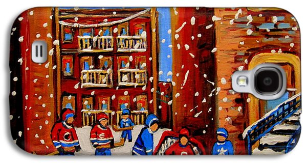 Hockey Sweaters Paintings Galaxy S4 Cases - Snowfall Hockey Game Winter City Scene Galaxy S4 Case by Carole Spandau
