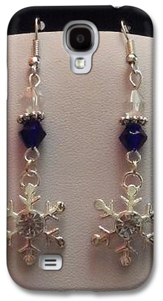 Flower Jewelry Galaxy S4 Cases - Snowflake and Sapphire Bicone Earrings Galaxy S4 Case by Kimberly Johnson