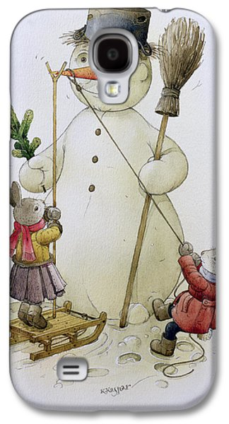 Sledge Galaxy S4 Cases - Snowman And Hares, 1999 Wc On Paper Galaxy S4 Case by Kestutis Kasparavicius