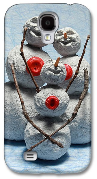 Father Sculptures Galaxy S4 Cases - Snowman Family Christmas Card Galaxy S4 Case by Adam Long