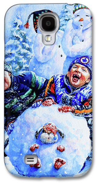 Dogs In Snow. Paintings Galaxy S4 Cases - Snowmen Galaxy S4 Case by Hanne Lore Koehler