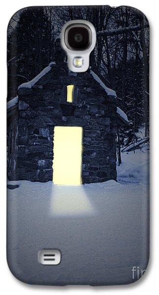 Refuge Galaxy S4 Cases - Snowy chapel at night Galaxy S4 Case by Edward Fielding