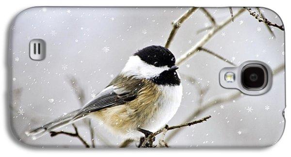 Rollosphotos Digital Art Galaxy S4 Cases - Snowy Chickadee Bird Galaxy S4 Case by Christina Rollo