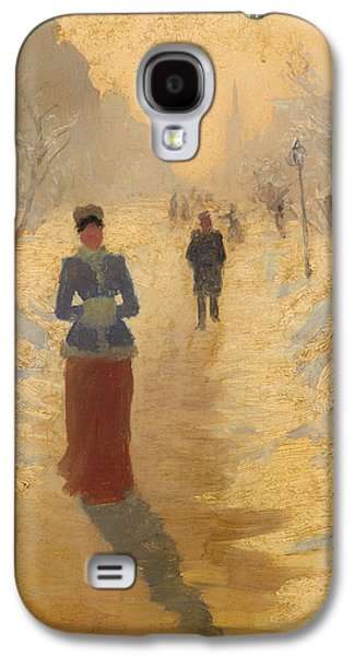Berlin Germany Paintings Galaxy S4 Cases - Snowy Day in Berlin Galaxy S4 Case by Hans Dahl