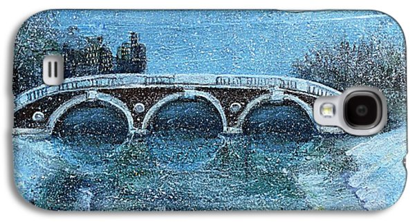 Cambridge Paintings Galaxy S4 Cases - Snowy Day in Cambridge MA Galaxy S4 Case by Rita Brown