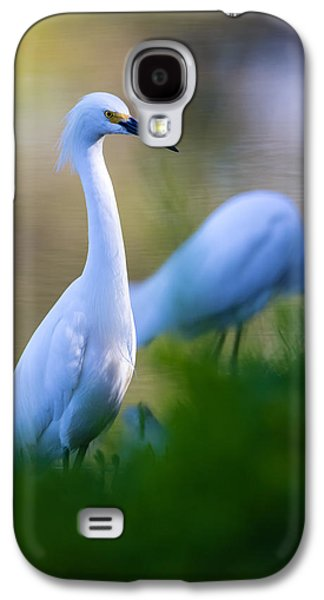 Wetlands Galaxy S4 Cases - Snowy Egret on a lush green foreground Galaxy S4 Case by Andres Leon