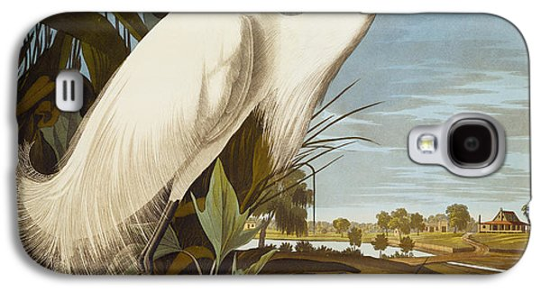 Illustration Paintings Galaxy S4 Cases - Snowy Heron Or White Egret Galaxy S4 Case by John James Audubon