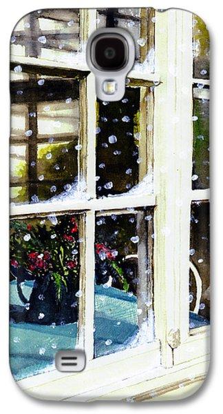 Old Pitcher Paintings Galaxy S4 Cases - Snowy Inn Window Galaxy S4 Case by Deborah Burow