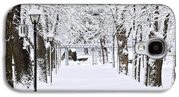 January Galaxy S4 Cases - Snowy lane in winter park Galaxy S4 Case by Elena Elisseeva