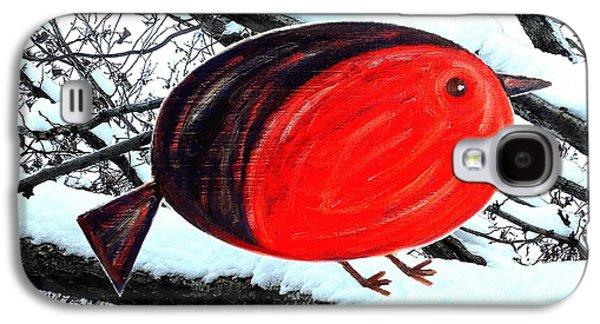 Tree Print Mixed Media Galaxy S4 Cases - Snowy Red Robin Galaxy S4 Case by Patrick J Murphy