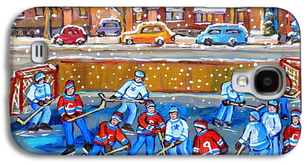 Montreal Streets Paintings Galaxy S4 Cases - Snowy Rink Hockey Game Montreal Memories Winter Street Scene Painting Carole Spandau Galaxy S4 Case by Carole Spandau