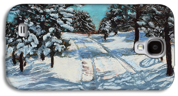Park Scene Pastels Galaxy S4 Cases - Snowy Road Home Galaxy S4 Case by Mary Benke
