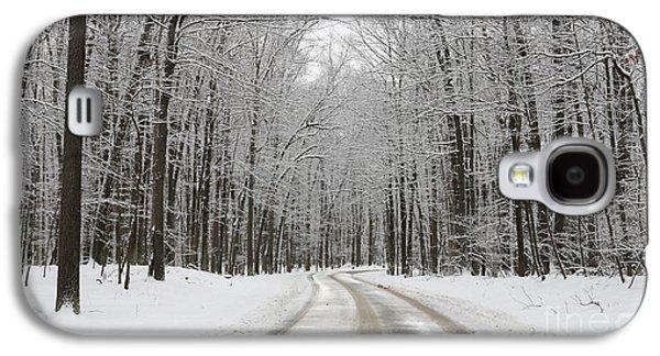 Snowy Road In Oak Openings 7058 Galaxy S4 Case by Jack Schultz