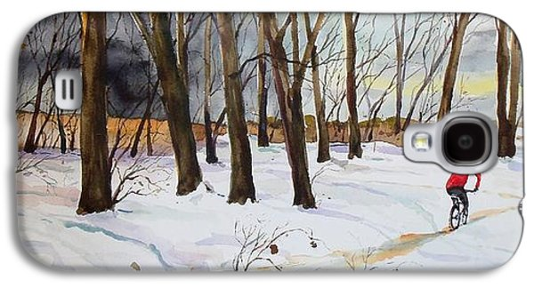 Scott Nelson Paintings Galaxy S4 Cases - Snowy Single Track  Galaxy S4 Case by Scott Nelson