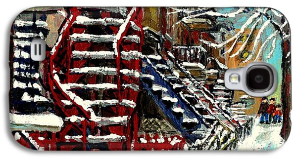 Montreal Memories Galaxy S4 Cases - Snowy Steps The Red Staircase In Winter In Verdun Montreal Paintings City Scene Art Carole Spandau Galaxy S4 Case by Carole Spandau