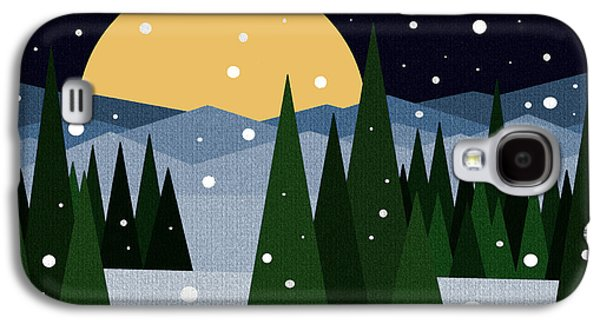 Snowy Night Night Galaxy S4 Cases - Snowy Winter Night Galaxy S4 Case by Val Arie