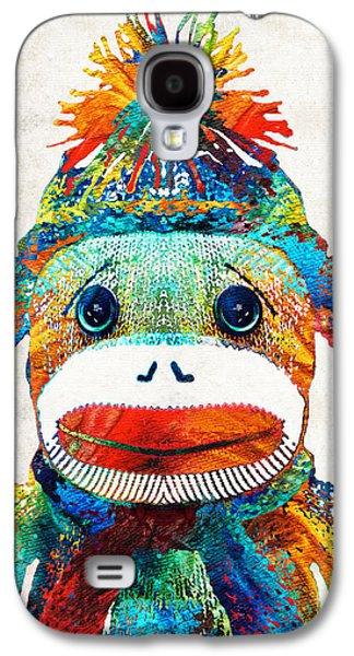 Best Friends Galaxy S4 Cases - Sock Monkey Art - Your New Best Friend - By Sharon Cummings Galaxy S4 Case by Sharon Cummings