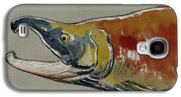 Salmon Paintings Galaxy S4 Cases - Sockeye salmon head study Galaxy S4 Case by Juan  Bosco