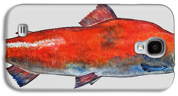 Salmon Paintings Galaxy S4 Cases - Sockeye salmon Galaxy S4 Case by Juan  Bosco