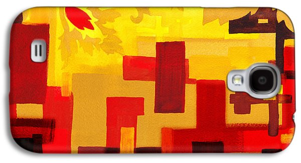 Abstract Movement Galaxy S4 Cases - Soft Geometrics Abstract In Red And Yellow Impression III Galaxy S4 Case by Irina Sztukowski