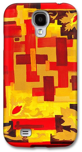 Abstract Movement Galaxy S4 Cases - Soft Geometrics Abstract In Red And Yellow Impression IV Galaxy S4 Case by Irina Sztukowski