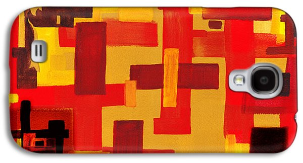Abstract Movement Galaxy S4 Cases - Soft Geometrics Abstract In Red And Yellow Impression V Galaxy S4 Case by Irina Sztukowski