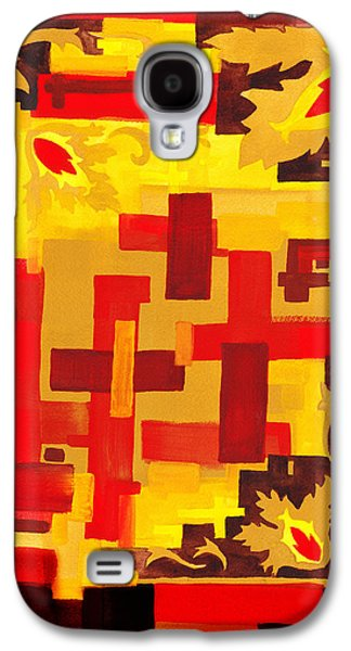 Abstract Movement Galaxy S4 Cases - Soft Geometrics Abstract In Red And Yellow Impression VI Galaxy S4 Case by Irina Sztukowski