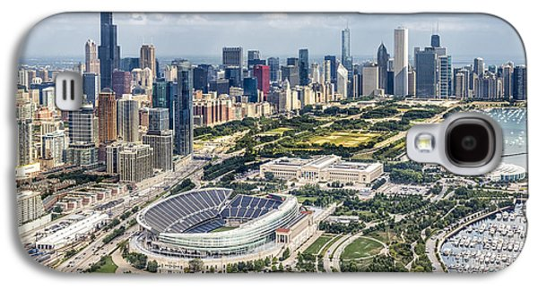 Man Cave Photographs Galaxy S4 Cases - Soldier Field and Chicago Skyline Galaxy S4 Case by Adam Romanowicz