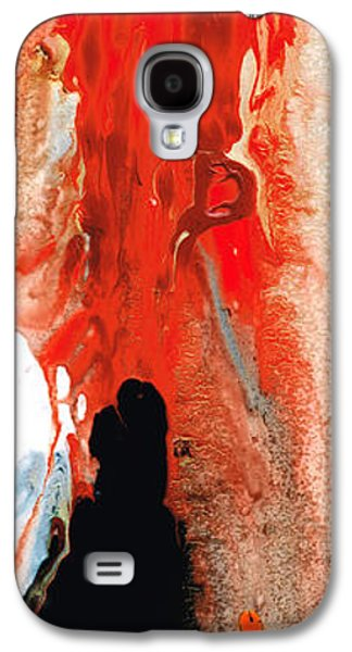 Black Man Galaxy S4 Cases - Solitary Man - Red And Black Abstract Art Galaxy S4 Case by Sharon Cummings