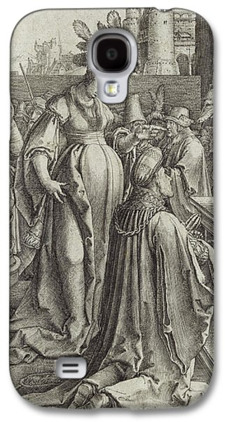 Worship Drawings Galaxy S4 Cases - Solomon Prays in front of a Graven Image Galaxy S4 Case by Lucas van Leyden