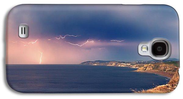 Beach Landscape Galaxy S4 Cases - Sopelana coast with thunderstorm Galaxy S4 Case by Mikel Martinez de Osaba