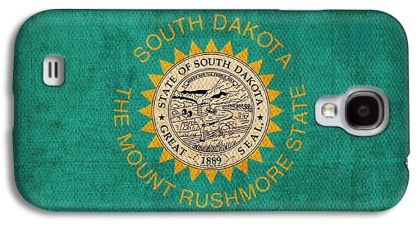 South Dakota State Flag Art On Worn Canvas Galaxy S4 Case by Design Turnpike