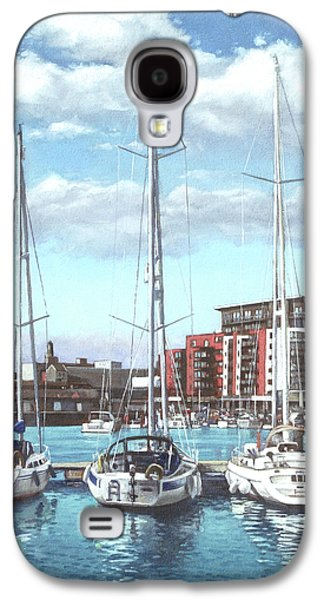 Boats In Water Paintings Galaxy S4 Cases - Southampton Ocean Village marina Galaxy S4 Case by Martin Davey