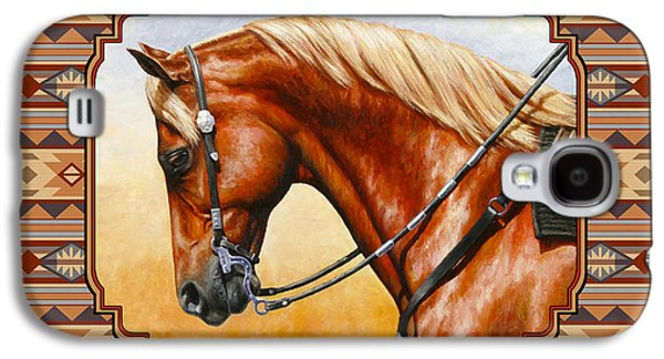 Chestnut Horse Galaxy S4 Cases - Southwestern Quarter Horse Pillow Galaxy S4 Case by Crista Forest