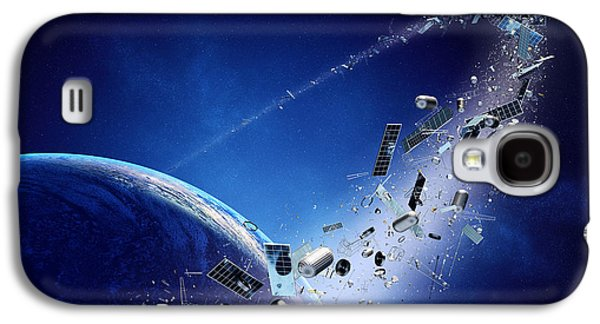 Panel Galaxy S4 Cases - Space junk orbiting earth Galaxy S4 Case by Johan Swanepoel