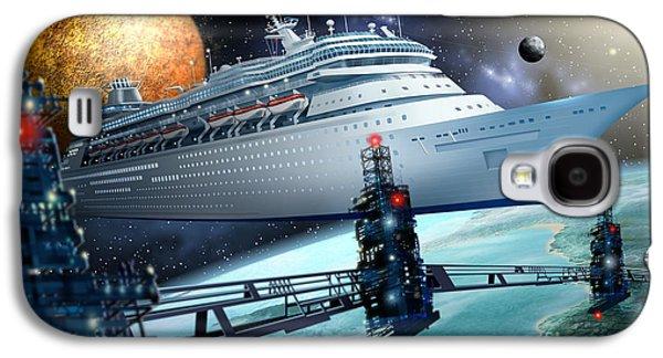 Jester Digital Art Galaxy S4 Cases - Space Ship Galaxy S4 Case by Ciro Marchetti