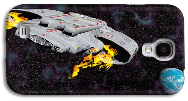 Intergalactic Space Galaxy S4 Cases - Spaceship With Afterburners Engaged Galaxy S4 Case by Elena Duvernay