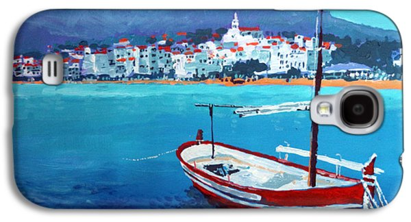 Spain Paintings Galaxy S4 Cases - Spain Series 08 Cadaques Red Boat Galaxy S4 Case by Yuriy Shevchuk