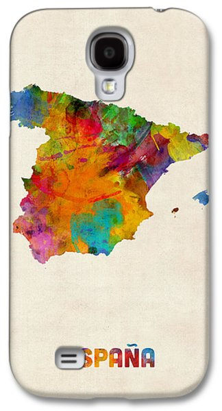 Map Galaxy S4 Cases - Spain Watercolor Map Galaxy S4 Case by Michael Tompsett