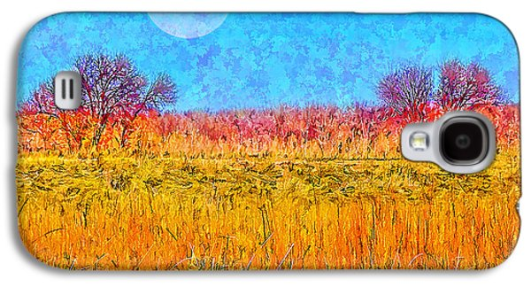 Mystical Landscape Mixed Media Galaxy S4 Cases - Sparkling Moon Over Dramatic Fields Of Gold Galaxy S4 Case by Joel Bruce Wallach