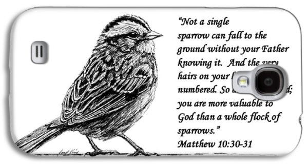 Janet King Galaxy S4 Cases - Sparrow drawing with scripture Galaxy S4 Case by Janet King