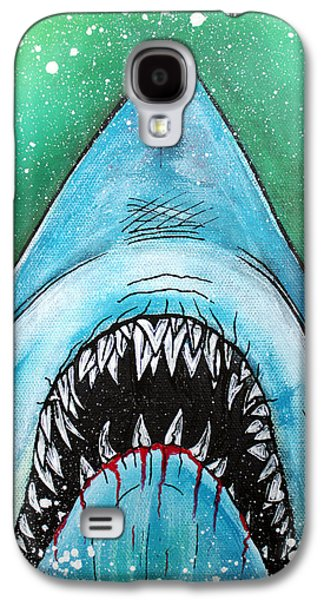 Shark Paintings Galaxy S4 Cases - Spawn of Jaws Galaxy S4 Case by Laura Barbosa