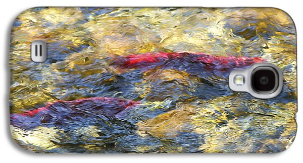 Fish Mixed Media Galaxy S4 Cases - Spawning Sockeye Salmon digital oil painting Galaxy S4 Case by Sharon  Talson
