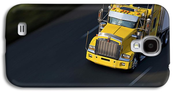 Business Pyrography Galaxy S4 Cases - Speed Yellow Semi-truck On Highway Galaxy S4 Case by Gilles Lougassi