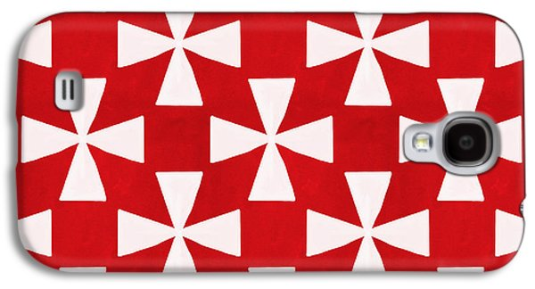 Red Mixed Media Galaxy S4 Cases - Spice Twirl- Red and White Pattern Galaxy S4 Case by Linda Woods